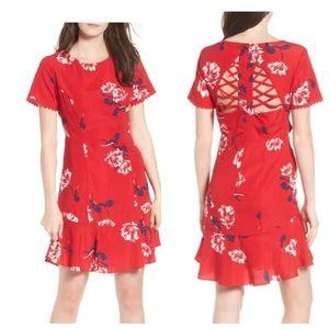 NWT Socialite Red Floral Cutout Mini Dress Small